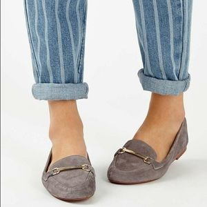 Topshop Libby Grey Leather Softy Loafers Size 8.5